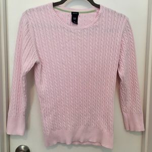 Gap Cable Knit Cotton Stretch Pink Sweater sz M